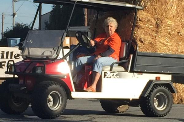 Carol on Golf cart